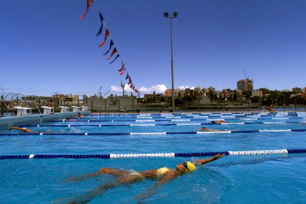 Swimmers at Andrew Boy Charlton Pool, Woolloomooloo.