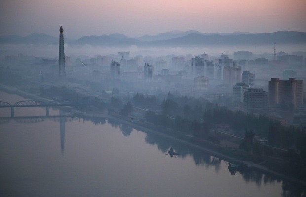 Dawn breaks over Pyongyang, North Korea.