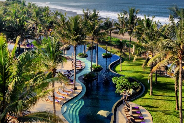 The pool at the W Seminyak resembles a rice field.