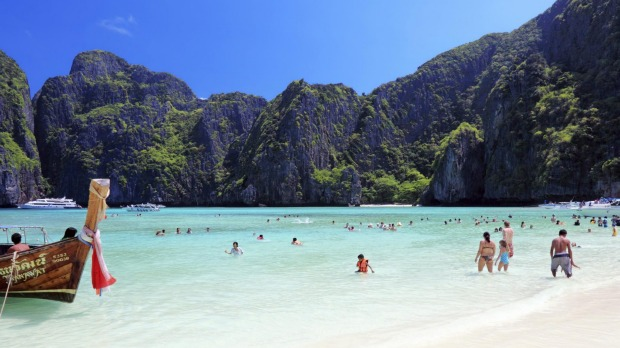 Maya Beach, featured in the famous novel and movie The Beach, is no paradise these days.