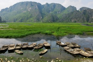We had a wonderfully relaxing sampan ride through the Van Long Nature Reserve in Ninh Binh, Vietnam, floating through reedy wetlands and surrounded by towering limestone peaks. Ninh Binh is known as the Ha Long Bay on land. Having experienced both, I much prefer the beauty, peace and tranquility of Ninh Binh.
