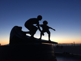 Hermosa Beach California. This sculpture is of a local legend Tim Kelly who died in a car accident when he was 25. My ...