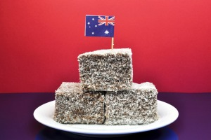 Australia Day January 26, celebrate with tradional Aussie tucker food such as lamingtons.