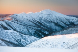 Mt Feathertop at sunset during winter near Mt Hotham in Victoria.