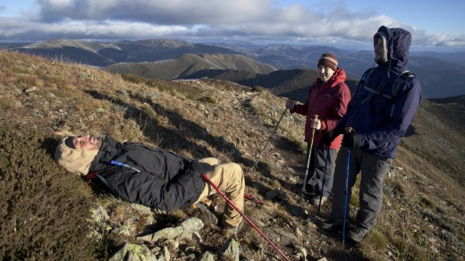 Azzopardi collapses on the final climb up the Razorback Trail to Mt Feathertop.