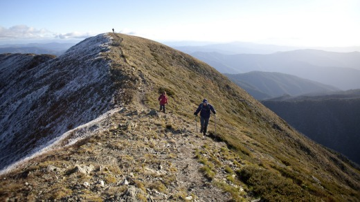 Dykstra, Vallianos and Azzopardi on the final climb up the Razorback Trail to Mt Feathertop.