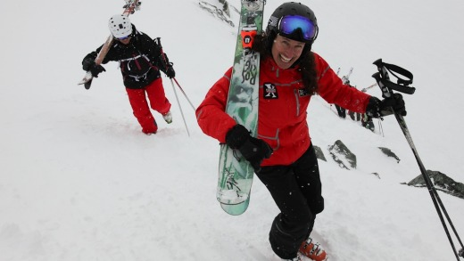 Extremely Canadian skier/coach Wendy Brookbank (front).