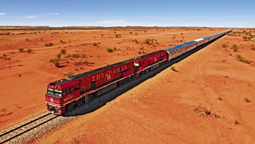 The Ghan between Adelaide and Darwin.