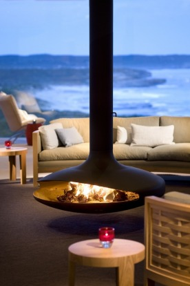 The fireplace in the Great Room at Southern Ocean Lodge, Kangaroo Island.