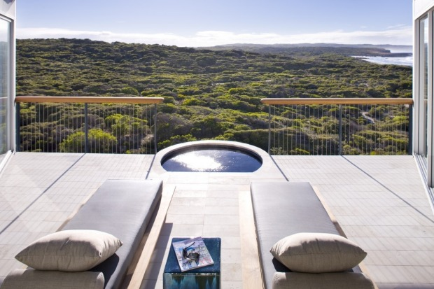 The Osprey Pavilion Terrace at Southern Ocean Lodge, Kangaroo Island.