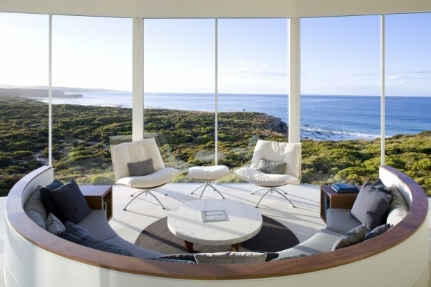 The Osprey Pavilion Lounge at Southern Ocean Lodge, Kangaroo Island.