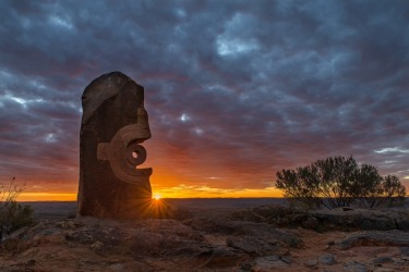 Sunset at the Living Desert Sculpture Park outside Broken Hill. A sculpture symposium was held on the site in1993 with ...