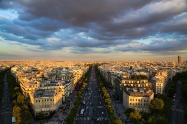 The beautiful view from the top of the Arc de Triomphe, Paris. My husband and I enjoyed an amazing sunset up here that ...