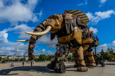 Le Grand Elephant at Les Machines de L'ile, Nantes, France. With the decline of the ship building industry in the area, two men used there skills to develop superbly crafted working models such as this 9 metre elephant.