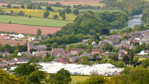 Hay-on-Wye with its festival tents.