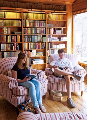 Customers at Richard Booth's bookshop.