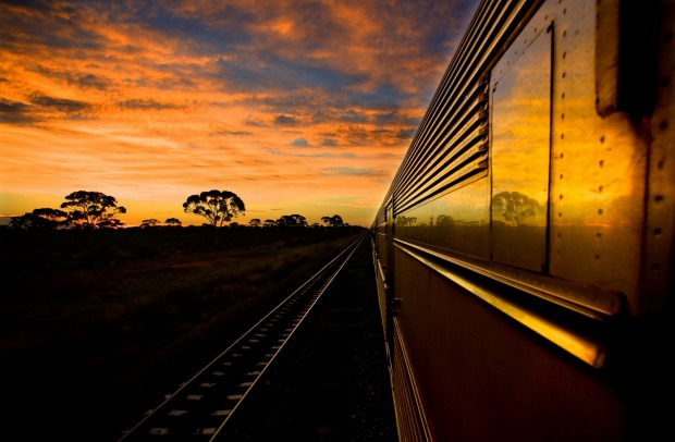 The sun sets east of Kalgoorlie on the Indian Pacific train journey.