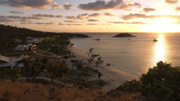 Sunset over the resort at Lizard Island.