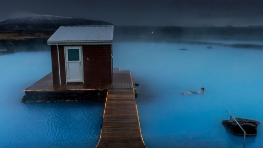 The Myvatn Nature Baths steam mysteriously in the Icelandic mist.