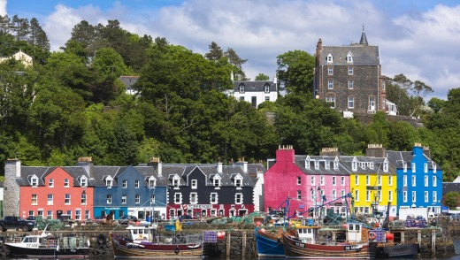 The waterfront at Tobermory the capital city of the Isle of Mull in the Inner Hebrides of Scotland.