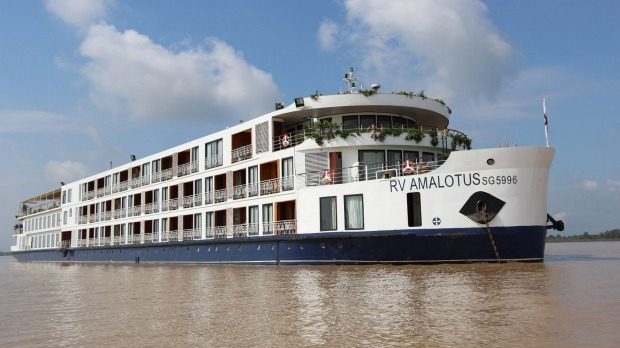 The  AmaLotus on the Mekong River: Luke Nguyen will be aboard for two sailings.