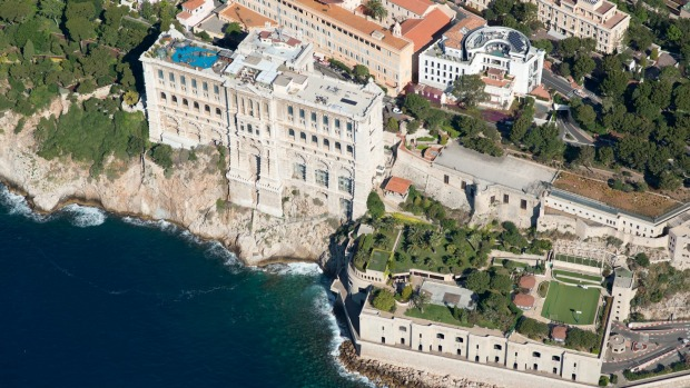 Monaco-Ville, also known as The Rock, from the air.