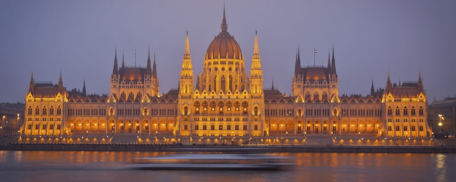 The much-photographed Hungarian Parliament Buildings in Budapest.