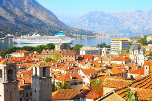 A cruise ship in the bay near the Old Town of Kotor in Montenegro.