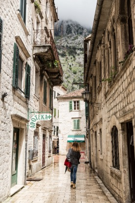A historic street in the old town of Kotor.