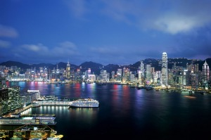 The night view over Hong Kong harbour.