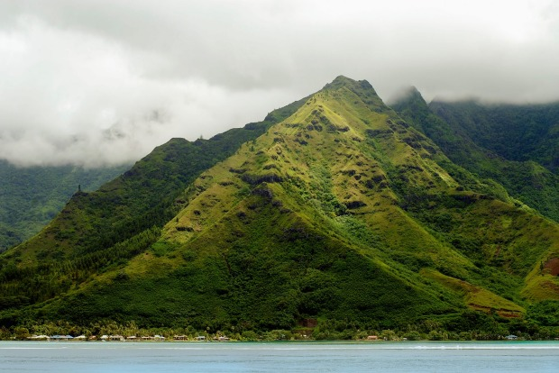 "Mountain Landscape on Moorea Island: For the Royal Caribbean captains it was the ""beautiful green, jagged volcanic ..."