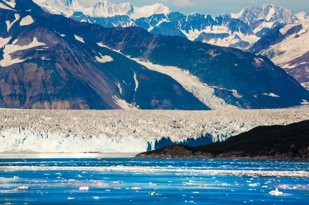 Hubbard Glacier, Alaska:  Sailing up to the glacier you see huge chunks of ice ejected into the water, like ice cubes ...