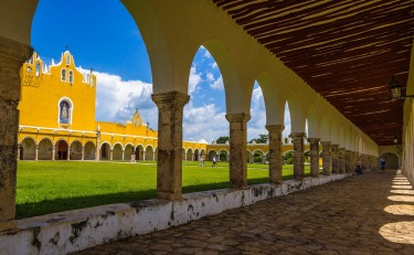 The Yellow City of the Yucatan Peninsula, Izamal. The franciscan convent of Saint Anthony of Padua built in the mid ...
