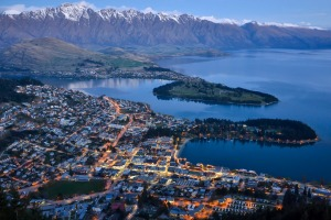 Queenstown, New Zealand as seen at dusk.