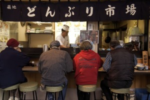 A morning food stall near Tsukiji Fish Market.