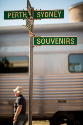 The Indian Pacific arrives at Cook, a Nullarbor railway settlement.