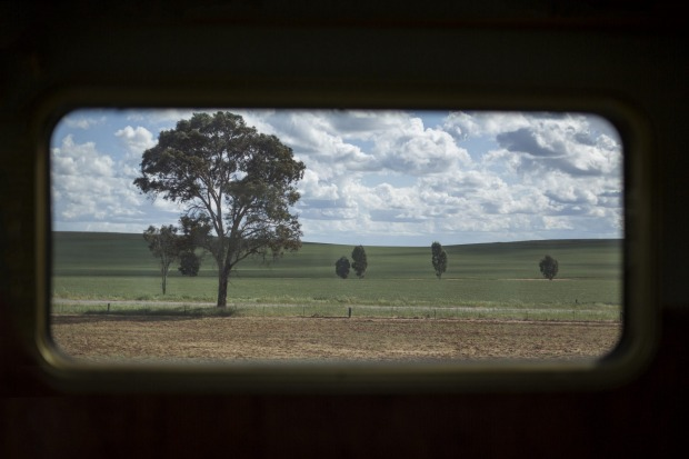 One of the landscapes along the route of the Indian Pacific, as viewed from a train carriage window.