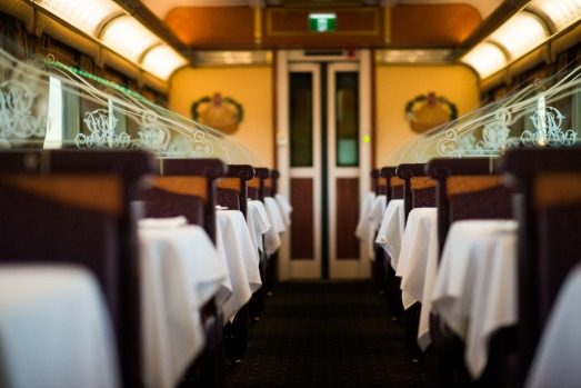 The Queen Adelaide dining carriage on the Indian Pacific train that journeys 4,352 kilometres between Sydney and ...