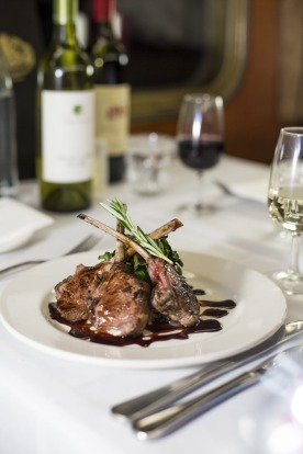 One of the dishes and wines serves in the Queen Adelaide restaurant dining carriage on the Indian Pacific between Sydney ...