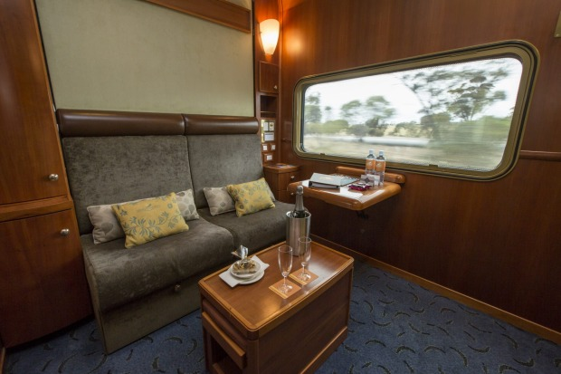A Platinum-class compartment in day-mode aboard the Indian Pacific train that journeys between Sydney and Perth.