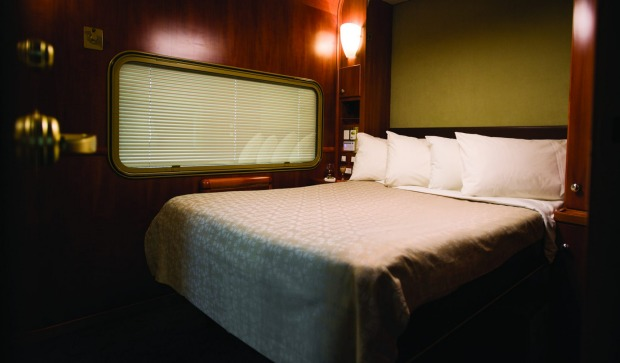 A Platinum-class double cabin aboad the Indian Pacific train between Sydney and Perth.