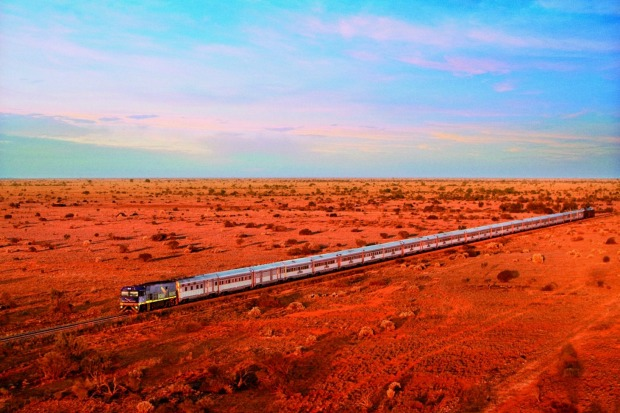 The Indian Pacific train on its epic journey between Sydney and Perth.