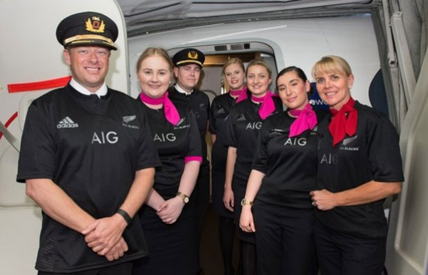 The lucky pilots and crew on flight QF143 from Sydney to Auckland are wearing the honorary uniform.