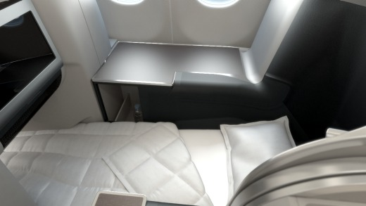 Seats feature a 76 inch fully-flat bed.