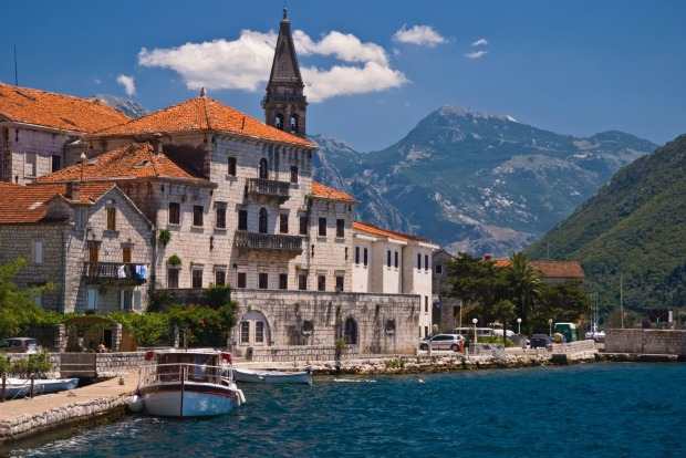 Adriatic old city, seafront in Perast, Kotor Bay, Montenegro.