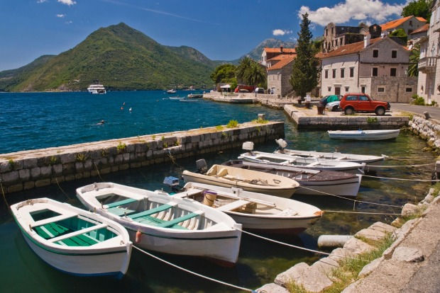 Boats in the dock, Kotor Bay, Montenegro.