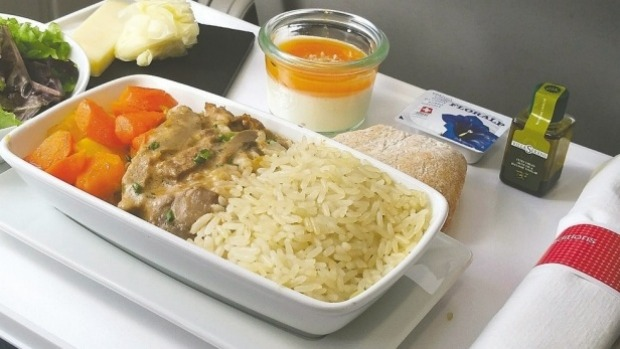 A business-class meal of chicken with a delicious mushroom sauce, a fresh garden salad, a cheese board and a yogurt ...