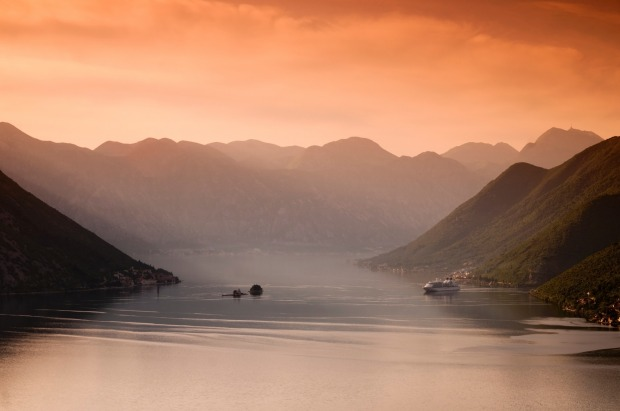 The Bay of Kotor at sunset.