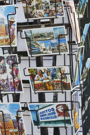 Souvenir postcards on display in Habana Vieja.