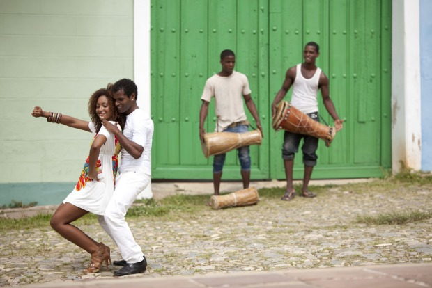 A couple dances the salsa in Trinidad, Cuba.